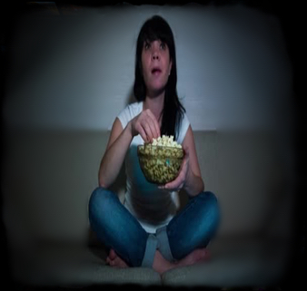 Girl Watching Shows with popcorn